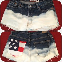 DIY high waisted shorts $4 mom jeans from thrift store  Bleach & spray bottle  $2 Fabric  Under $10 for adorable shorts