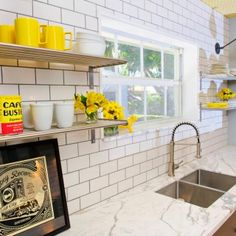 Use gray for grout for an interesting tiled twist. (Cultivate.com)