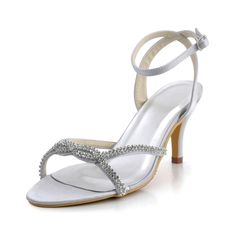 High Heels Open Toes Wedding Sandals with Crossed Rhinestones Shoes Size:35/36/37/38/39/40/41/42Shoes Color:White/Ivory/Champagne/Gold/Red/Burgundy/Purple/Royal Blue/Silver/BlackFeatures:SandalsOccasion:Wedding/Special OccasionSeason:SummerToe Type:Open ToesHeel Type:Spool Heel/Stiletto Heel/Kitten HeelHeight:7.5Material:SatinShown…