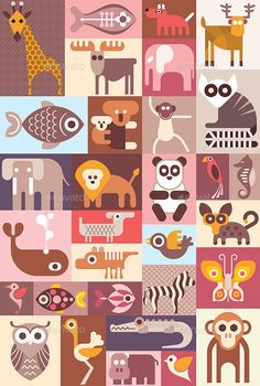Buy Zoo Animals Collage by danjazzia on GraphicRiver. Zoo animals, birds and tropical fishes vector collage. Vector file can be scaled to any size without loss of resoluti. Vector Design, Vector Art, Graphic Design, Vector Illustrations, Vector Graphics, Flat Illustration, Character Illustration, Animals Vector, Fish Icon