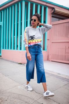 style me grasie : long weekend // grasie mercedes ootd casual street wear outfit of the day memorial day weekend adidas sneakers trainers wide crop jeans denim madewell everydaymadewell distressed op sweatshirt topshop sweater sunnies athleisure chic lifestyle la blogger style tropical beach summer 2017
