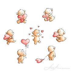 7 Teddy Bear Valentines Clipart - Love bears clipart - Love illustration - Watercolor clipart - Printable Art - Greeting - Invite - Card by AnnaAbramskaya on Etsy