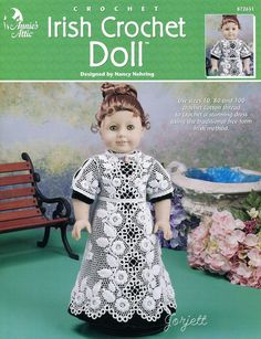 "Irish Crochet Doll Dress fits 17"" doll, Annie's crochet pattern #AnniesAttic #Fashiondollclothing"
