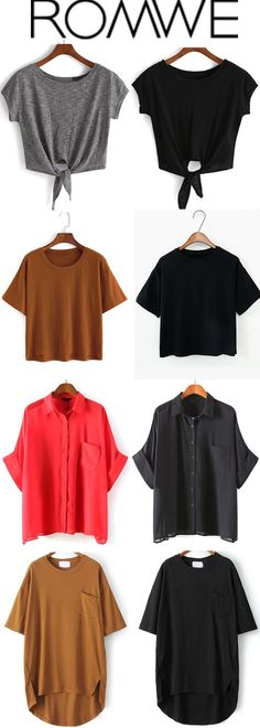 Comfortable Solid Tees from romwe.com with great styles and reasonable price from $5.99