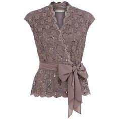 Lovely!  This would be easy to sew myself, too.  Jacques Vert Sequin  Lace Crossover Top, $135