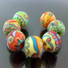 PIKALDA=handmade lampwork 7 beads glass color=PARTY=SRA