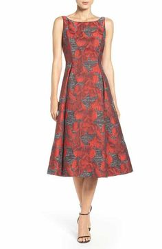 Adrianna Papell Jacquard Midi Dress
