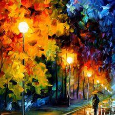 "Blue Moon — PALETTE KNIFE Landscape Oil Painting On Canvas By Leonid Afremov - Size: 20"" x 36"""