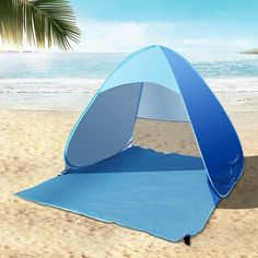 e-Joy Automatic Instant Pop Up Instant Portable Outdoors Cabana Beach Tent Shelter, Sun Shade Sport Shelter, Beach Umbrella, Blue Beach Camping, Tent Camping, Outdoor Camping, Camping Tips, Outdoor Survival, Family Camping, Outdoor Fun, Family Travel, Pop Up Beach Tent