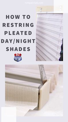 As RV day/night shades age, the strings that retract and extend the pleated shade often get a little wonky. This can make a broken or frayed shade difficult to manage and keep in the up position. Although your shade seems to be destined for a replacement, it's not a lost cause if you don't mind spending some time on it. Travel Trailer Camping, Rv Camping, Camping Ideas, Tiny Living, Living Room, Night Shades, Rv Interior, Rv Tips, Rv Hacks