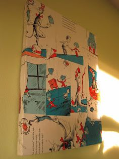 Use an old book that is falling apart. Book page canvas with some mod podge and somebook pages and an old  canvas,  Also she does the same on a lampshade.  Great for children's rooms.