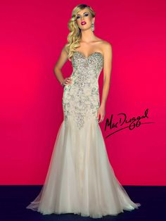 Strapless Applique Evening Gown by Mac Duggal Black Red White