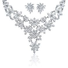 Bridal Large Marquise AAA CZ Cubic Zirconia Statement Necklace Earring Set For Women For Wedding Silver Plated Bridesmaid Jewelry Sets, Bridal Jewelry Sets, Bridal Sets, Wedding Jewelry, Bridal Jewellery, Cz Jewellery, Bling Jewelry, Crystal Jewelry, Flower Jewelry
