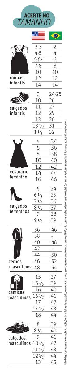 Medidas de roupas e calçados dos EUA e suas equivalentes no Brasil