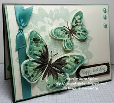 hand crafted card from Stampin' By The Bay ... butterflies ... simple flower stamped in muted color as background ... great card! ... Stampin' Up!