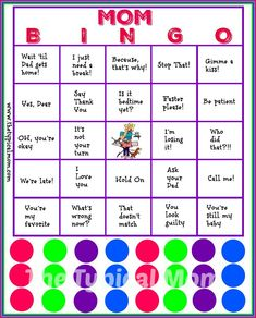 Mom Bingo printable that is free to download and a perfect baby shower game or Mother's Day bingo card. You will be laughing hysterically at the phrases!!