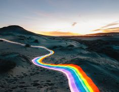 Vivid Rainbow Roads Trace Illuminated Pathways Across Forests and Beaches | Colossal