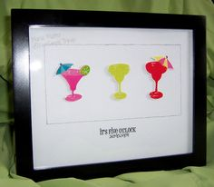 Five Simple Things: Its Five O'Clock Somewhere - Home Decor. chipboard stickers, margarita, recycle frames, wall art