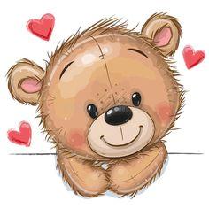 Urso Bear, Eiffel Tower Painting, Josi, Pig Art, Love Bear, Cute Teddy Bears, Cute Images, Cute Characters, Cute Drawings