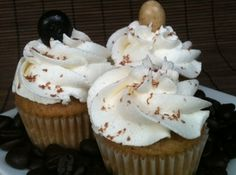 White Russian Cupcakes- all the alcohol gets baked out of these. So feel free to have one for breakfast! :)