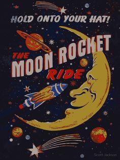 'Rocket Moon Ride (vintage)' Canvas Print by Scott Jackson - Rocket Moon Ride (vintage) by Scott J Bedroom Wall Collage, Photo Wall Collage, Picture Wall, Wall Art, Foto Poster, Poster Wall, Poster Prints, Art Print, Gig Poster