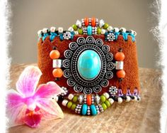 For Kitty only. Turquoise CUFF leather BRACELET silver cuff Western beaded Cuff Bracelet Hippie Cowgirl bracelet Native Indian Boho GPyoga