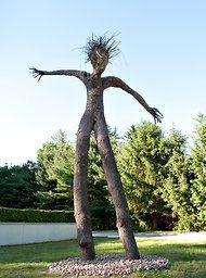 """""""Joseph Wheelwright: Tree Figures,"""" (27' tall) in the Marilyn M. Simpson Sculpture Garden, Katonah Museum of Art"""