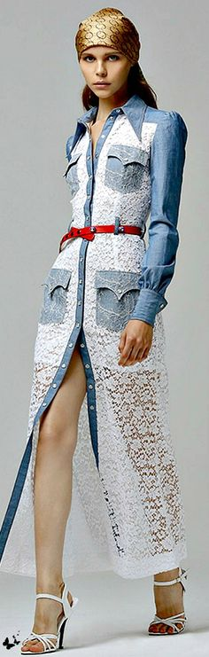 This one's taken way too far with the denim and lace. But what's on the run way now works its way to the Midwest later in a more wearable, tuned down style