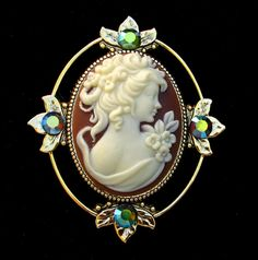 Cameo Brooch or Pendant Cocoa Brown Profile with Crystal Accents