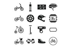 Biking icons set, simple style. Sport Icons. $5.00