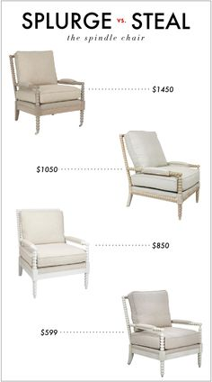 Spool Chair, Layla Grace, $1452.00 Fearrington Chair, Furbish Studio, $1050.00 Jenny Lind Chair, The Land of Nod, $849.15 Spindle Chair, Z G...