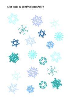 Keresd meg az egyforma hópelyheket! Printable Worksheets, Printables, Winter, Montessori, Games, Xmas, Winter Time, Print Templates, Gaming