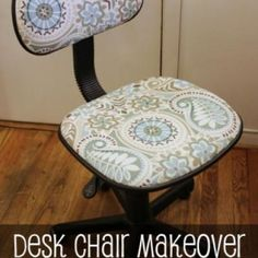 Reupholstered Desk Chair {Home Office}