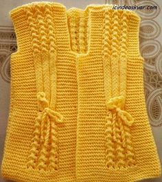 "Bebek yelek I found no site, page, or pattern for this item. [ ""Can anyone plz give a heads up on the pattern. The cast on etc. Knitting For Kids, Crochet For Kids, Baby Knitting, Crochet Baby, Knit Crochet, Baby Sweater Knitting Pattern, Lace Knitting Patterns, Knitting Stitches, Sari"