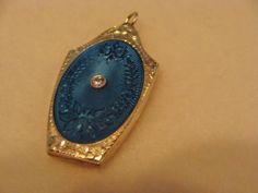 Edwardian Era :18K White Gold and Diamond Blue Guilloche' Locket