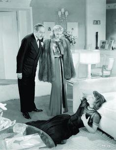 """Adolphe Menjou, Ginger Rogers y Katharine Hepburn en """"Damas del Teatro"""" (Stage Door), 1937"""