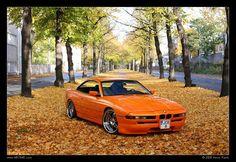 BMW orange 850 in the fall