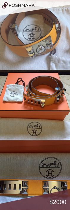 Hermes CDC Belt JAUNE Epsom PHW Hermes Collier De Chien Color: JAUNE Epsom leather with Palladium Hardware. Size: 85 Stamp:P Comes: with all Original Hermes packaging (Box and Ribbon, Dust Bags, Hermes Shopping Bag) Worn Once like new, excellent condition no scratches no signs of wear. Hermes Accessories Belts
