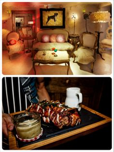 Start off with dinner with some mean ribs at Beard and Tail in Shoreditch, then cross the road for some secret underground cocktails at the kooky ninetyeight lounge..