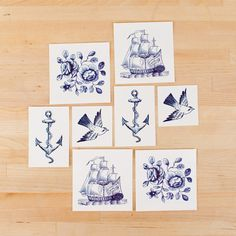Temp tattoos as wedding favors for nautical themed wedding $15 for set of 8
