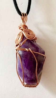 Handmade wrapped large natural Amethyst stone by TROPICALNecklaces