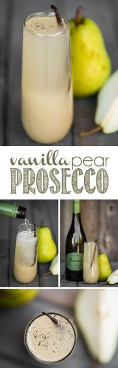 Vanilla Pear Prosecco, made with fresh pears, whole vanilla beans, and a crisp bubbly Prosecco, is the perfect fall and winter holiday cocktail! #vanillapear #prosecco #proseccococktail