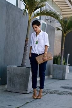 Navy pants and a white shirt - looks great with right accessories