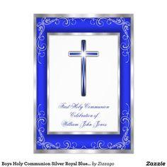 Boys Holy Communion Silver Royal Blue Cross 5x7 Paper Invitation Card