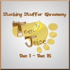 Toe Juice Giveaway! Ends 12/15/12 -  2 readers the chance to win their very own Toe Juice stocking stuffer kits! The kits include 1 4.6oz bottle, 1 1oz travel size bottle, and a coupon!