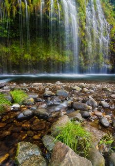 The famous lower section of Northern California's Mossbrae Falls around Dunsmuir in the Mount Shasta area.