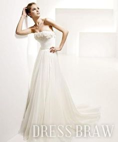 Casual A-Line Strapless Chapel Train Flowers Embellishment Wedding Dresses