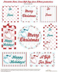 Free Retro Christmas Gift Tags