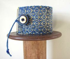 Denim Blue & Yellow Wide Woven Cuff Bracelet, Anklet, Handwoven Cotton, Beach Chic, Boho, Tribal, Fiber Art Fashion Jewelry, Winter Style, Summer Cottage, Seaside Resort Fashion, Holiday Gift by aclhandweaver for $84.00 #zibbet