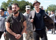 Shia LaBeouf and Brad Pitt buddied up to promote their movie Fury at Fort Benning in Columbus, GA, on Thursday.